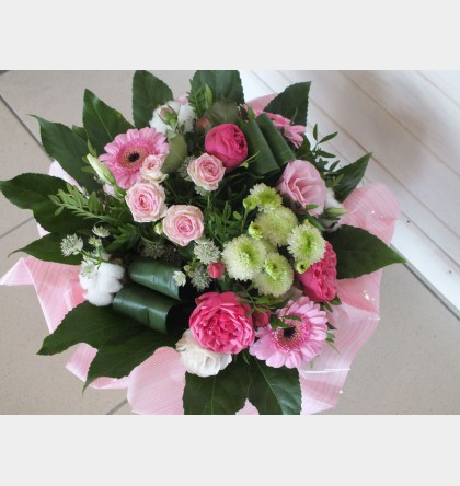 Bouquet rond BLANC ROSE