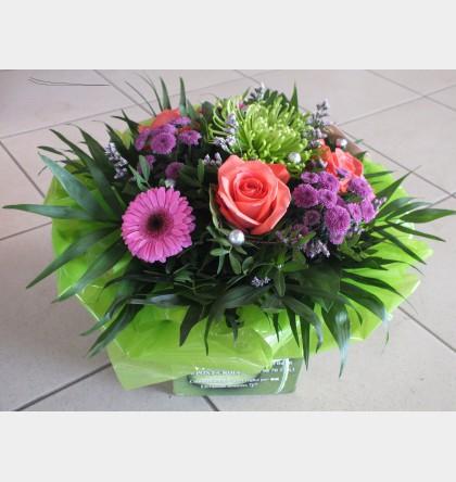 Bouquet rond rouge, mauve