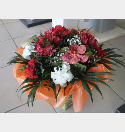 Bouquet Rond tendance rouge orchidée